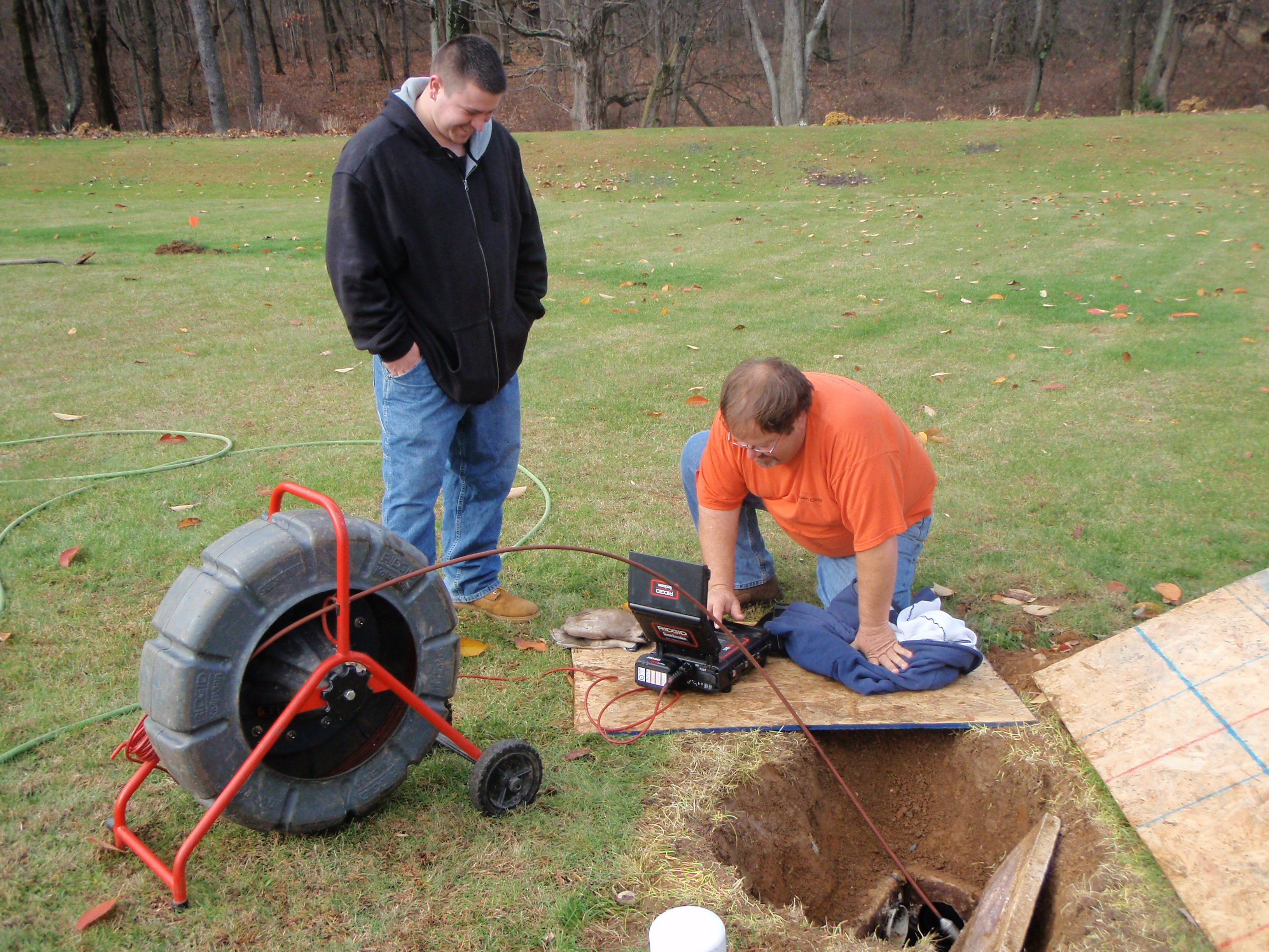 Septic drain field inspection using a sewer video camera