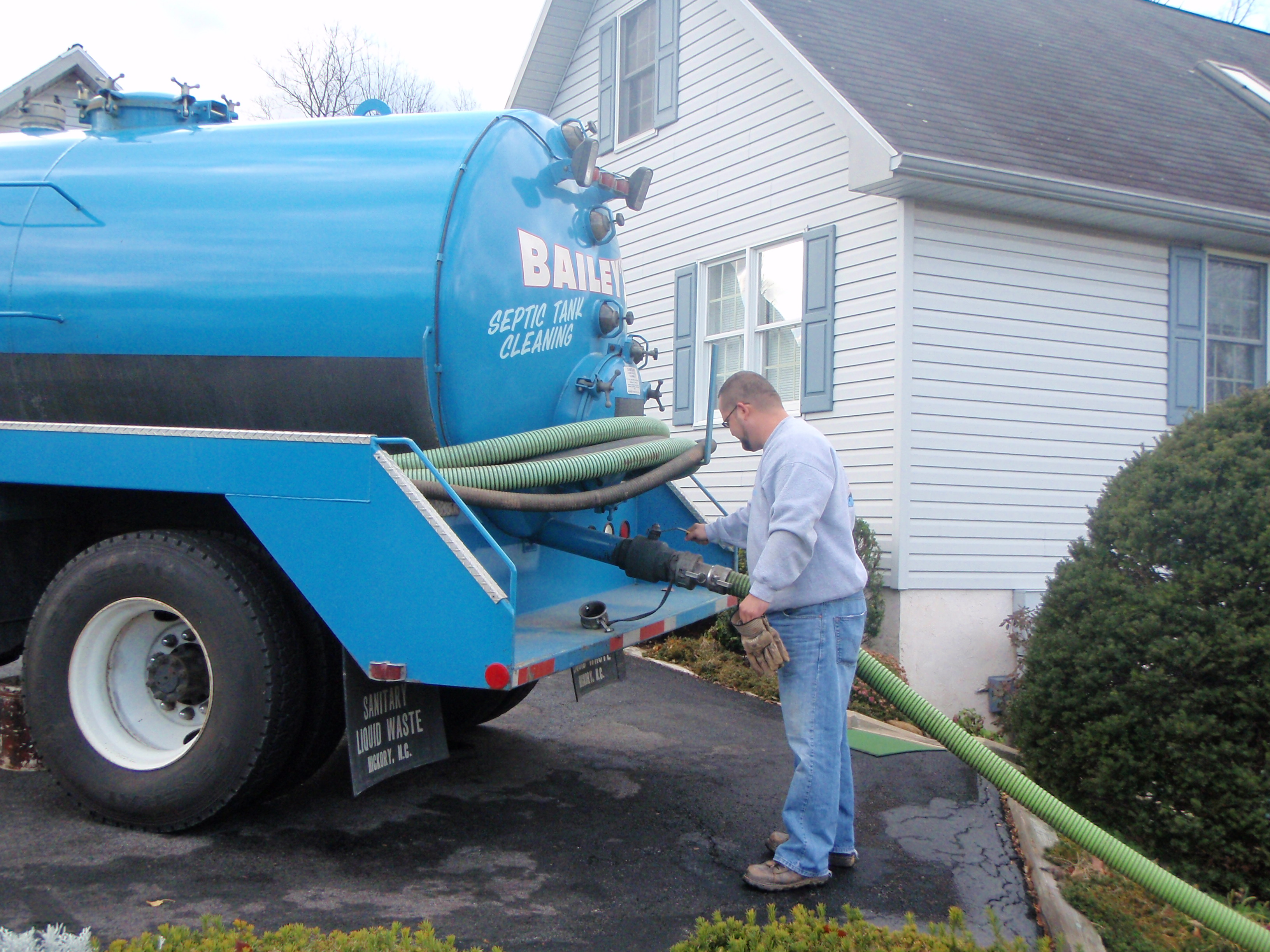Bailey s pumping truck arrives to pump out a septic system